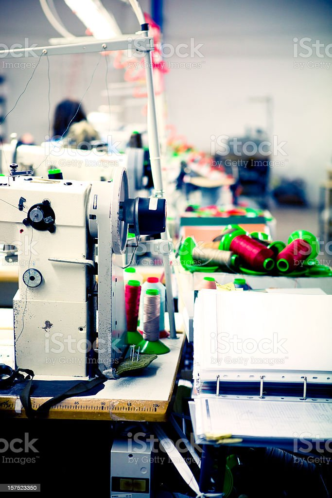 Sewing machine in line production stock photo