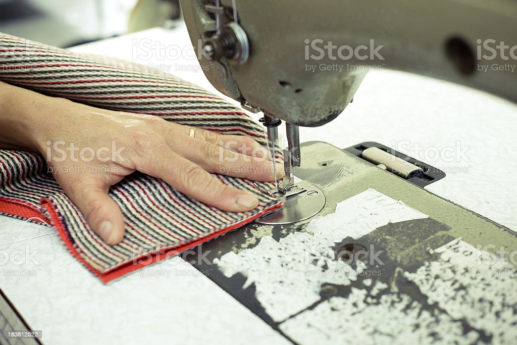Sewing machine in production royalty-free stock photo