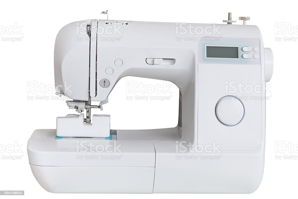 sewing machine isolated on a white background stock photo