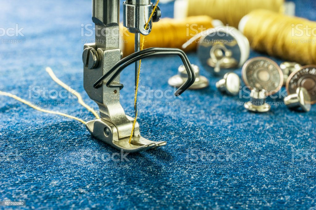 sewing machine parts and tools stock photo