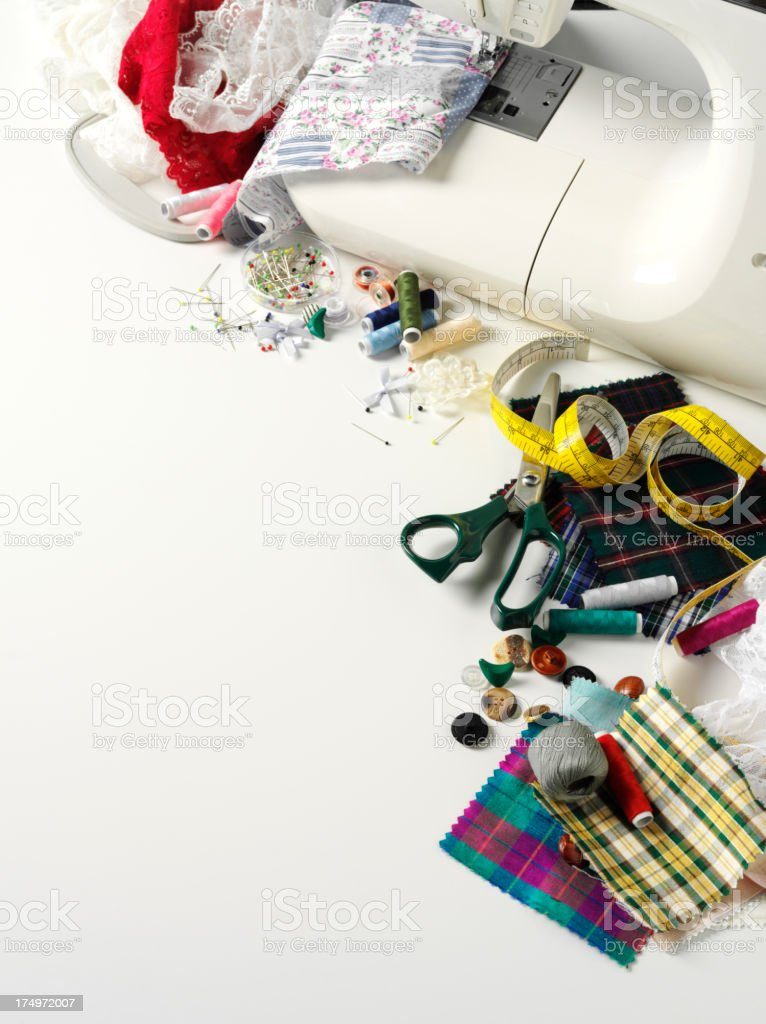 Sewing Machine with Cotton Fabric Swatches and Haberdashery stock photo