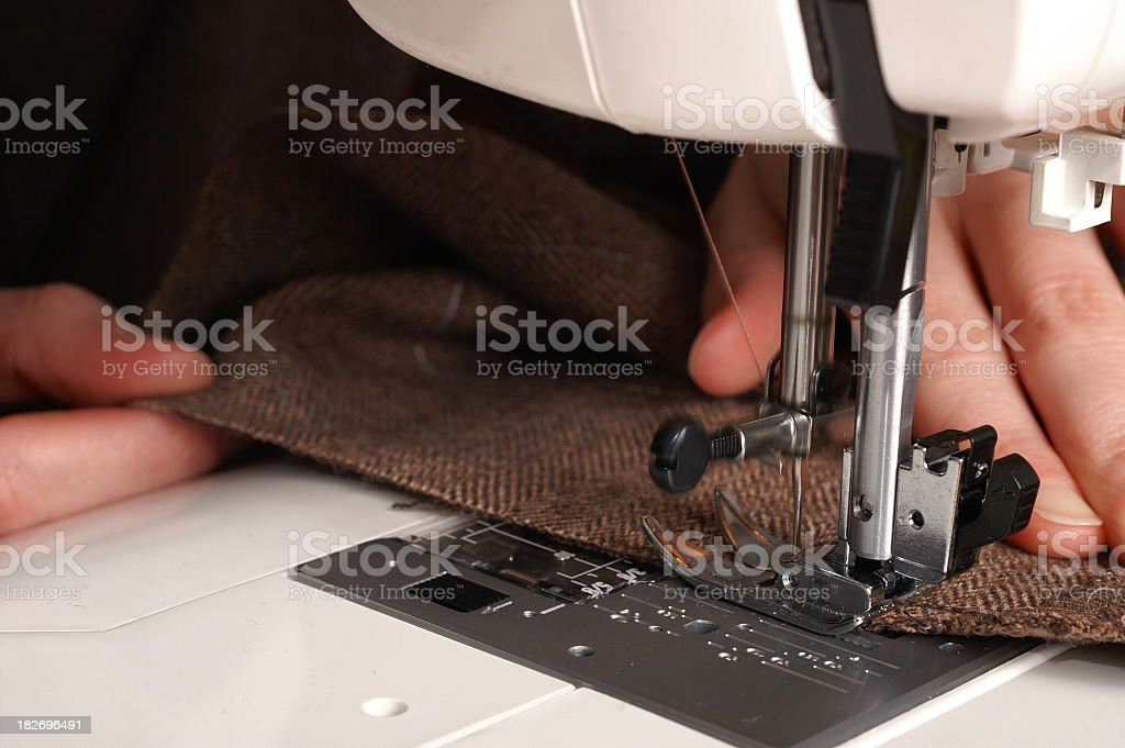 Sewing Machine Working stock photo