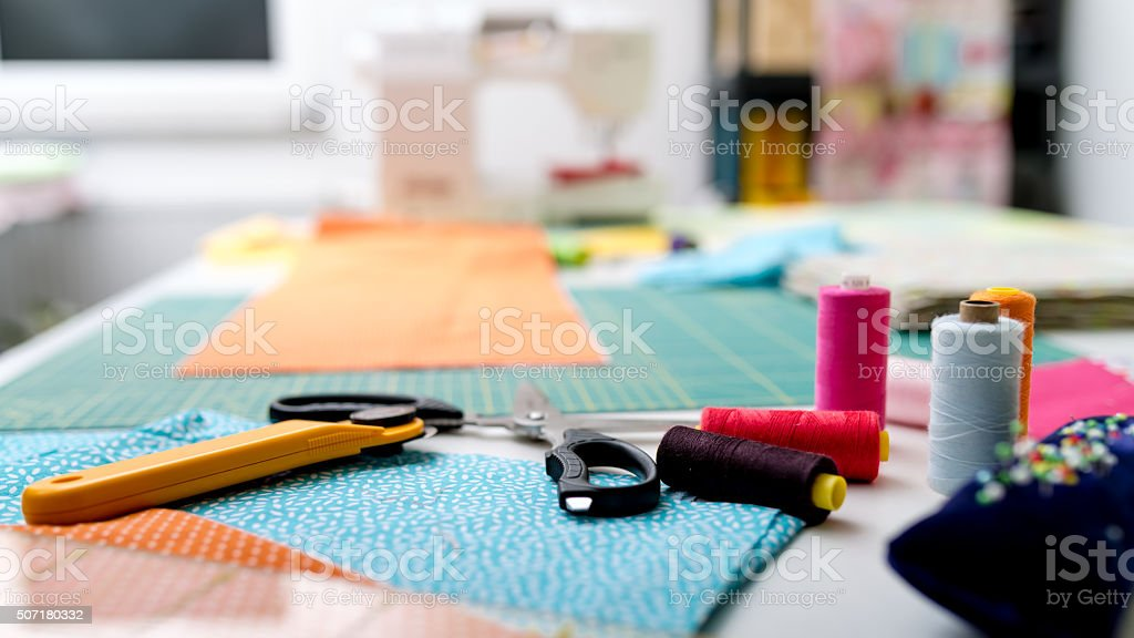 sewing materials for quilting stock photo