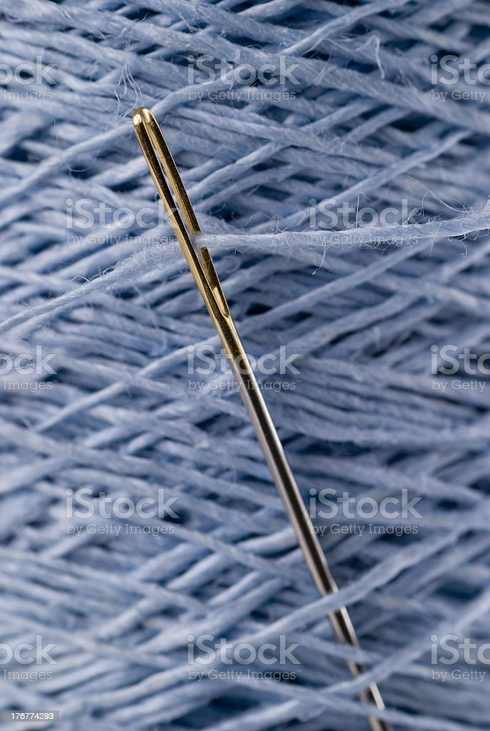 Sewing Needle And Flax Yarn royalty-free stock photo