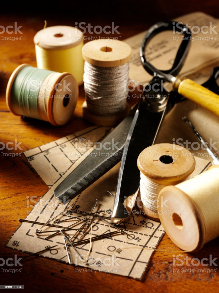 Sewing Pins on a Paper Pattern royalty-free stock photo