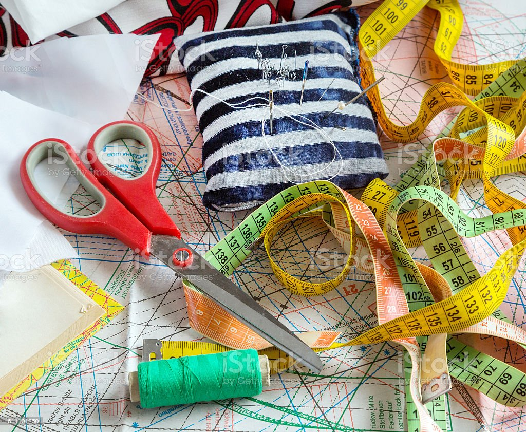 sewing supplies, tools stock photo