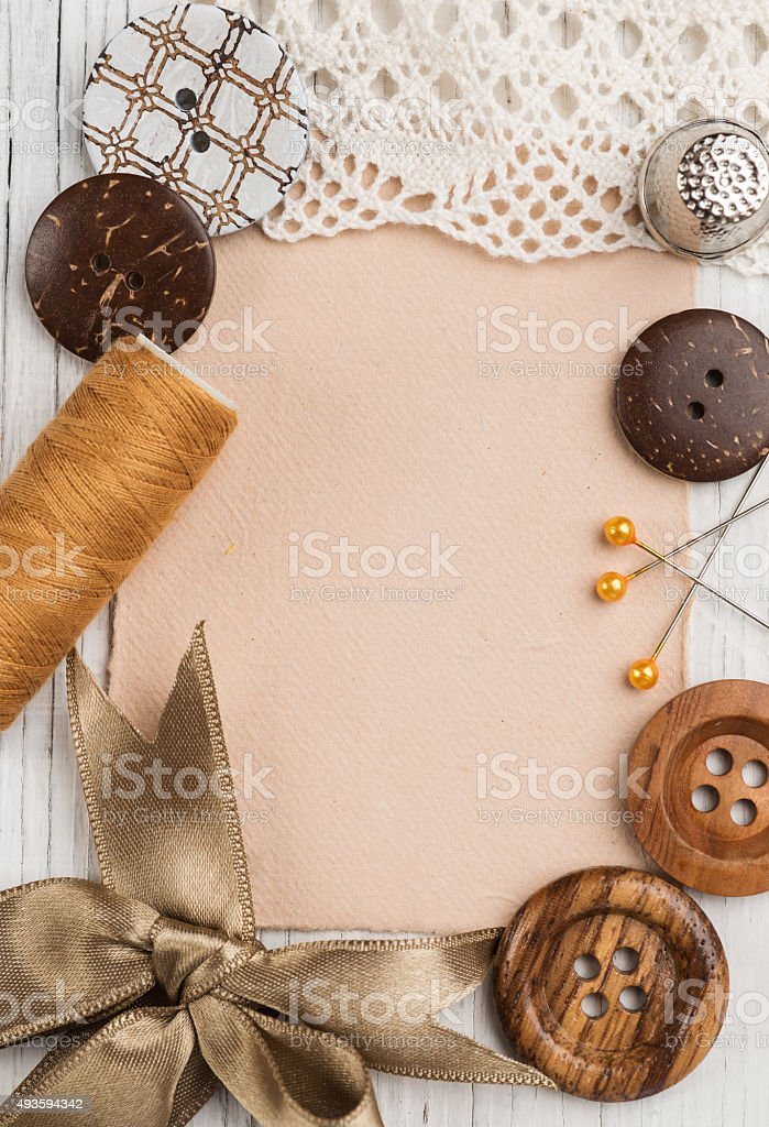Sewing supplies with note paper for text stock photo