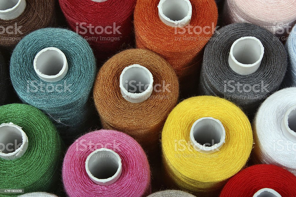 Sewing threads multicolored stock photo