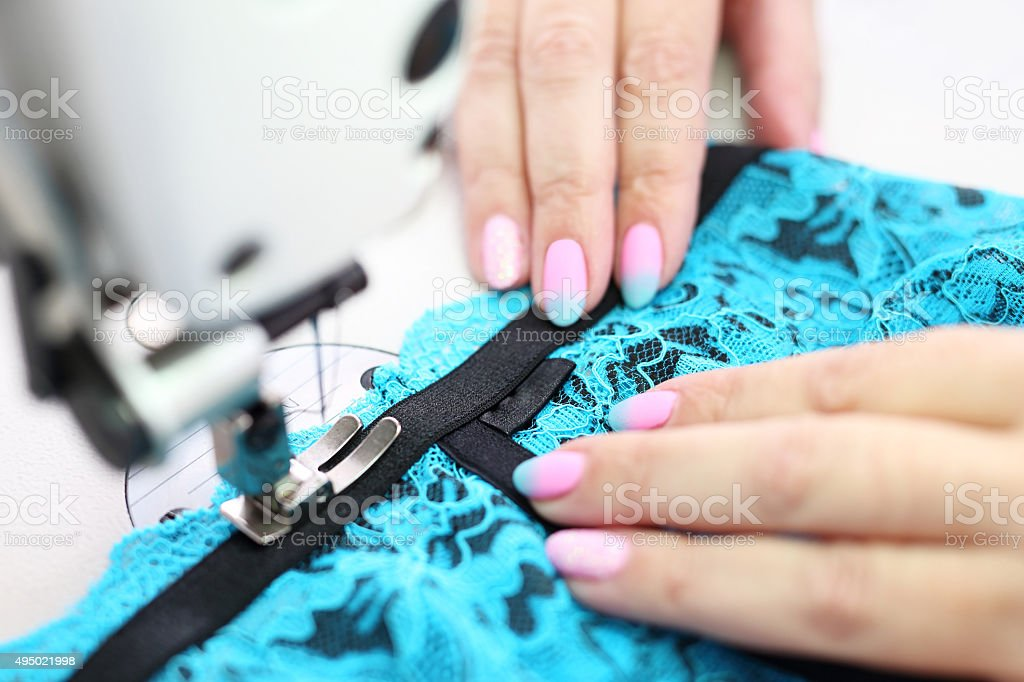 Sewing underwear. stock photo
