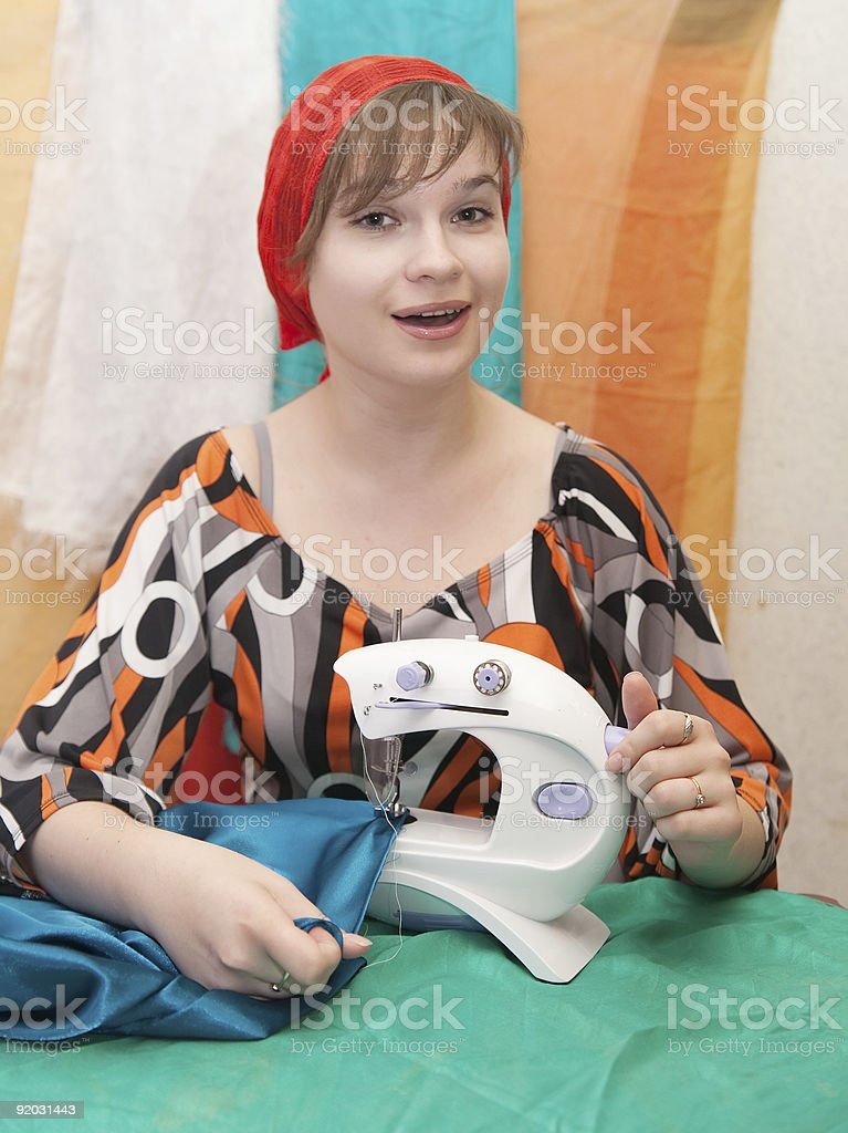 sewing woman royalty-free stock photo