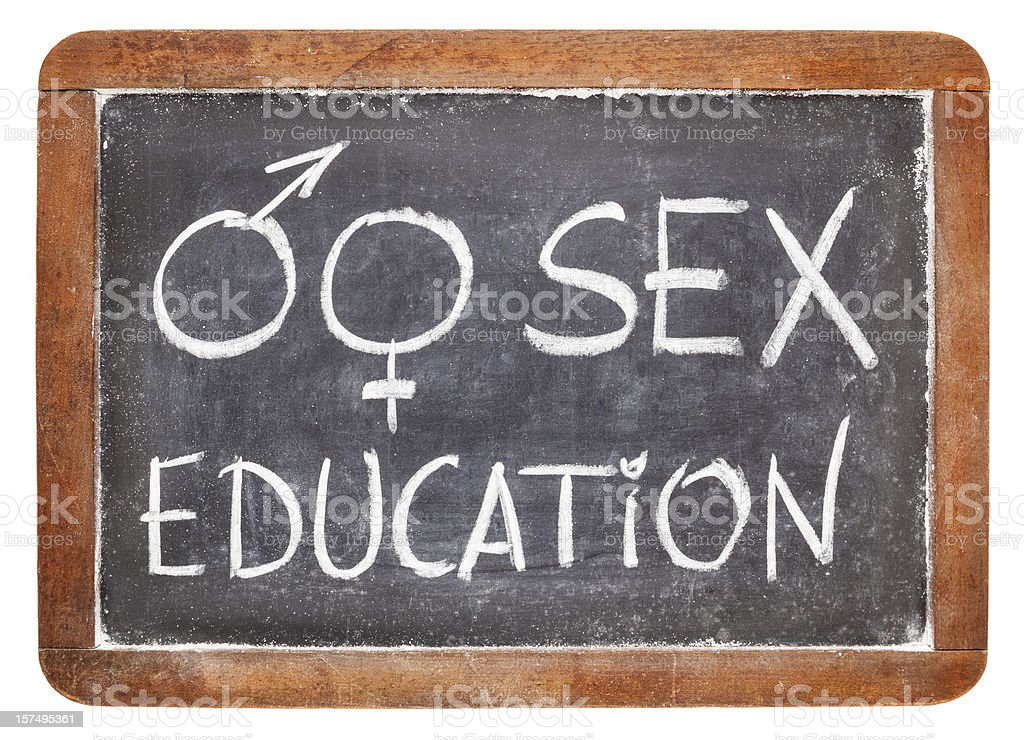 sex education on blackboard stock photo