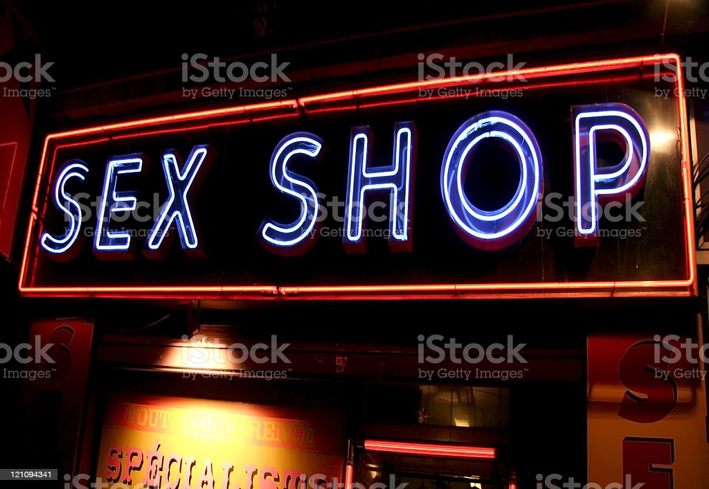 Sex Shop Neon Sign royalty-free stock photo
