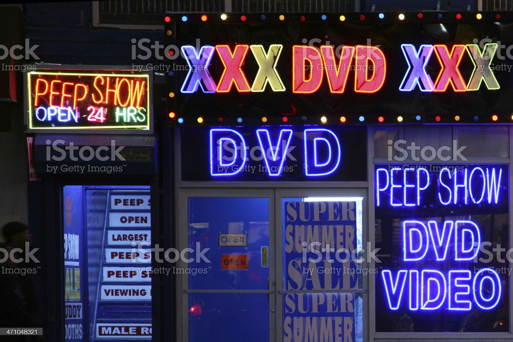 Sex Shop Signs At Night royalty-free stock photo
