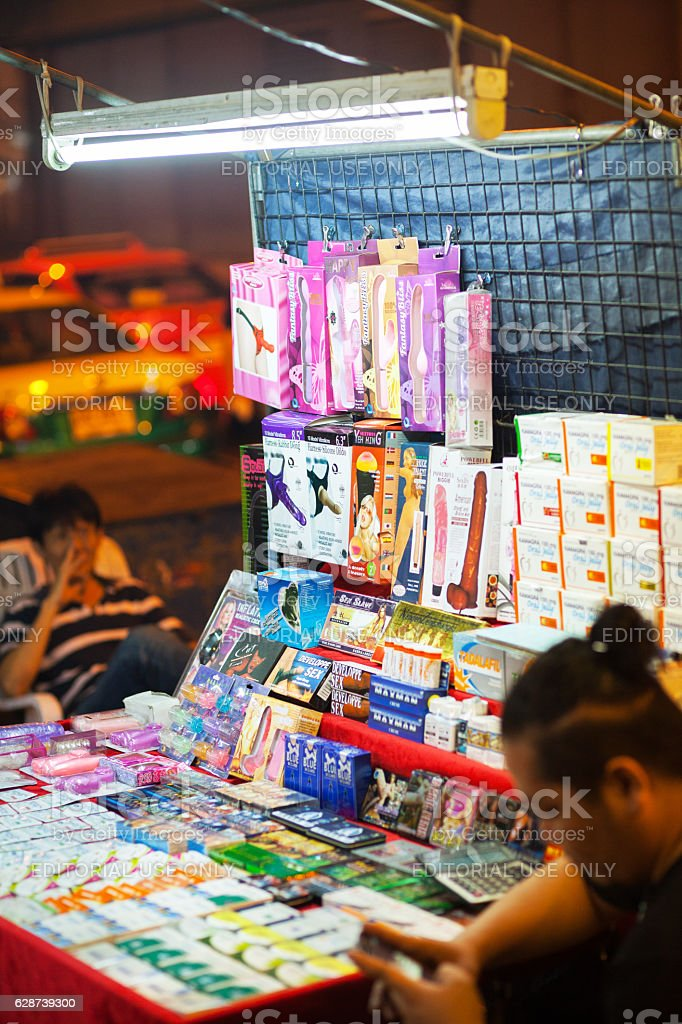 Sex toys and viagra offered on Sukhumvit Road stock photo