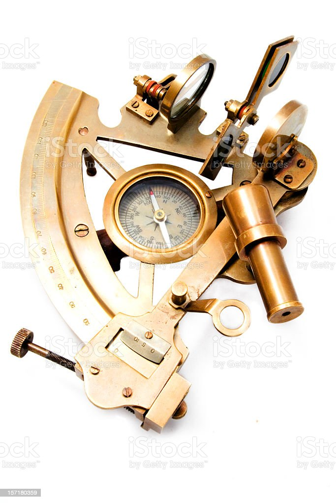 A sextant isolated on white background stock photo