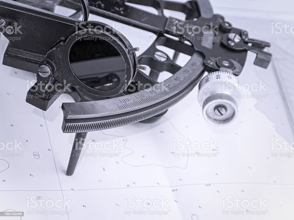 Sextant, old instrument for navigation stock photo