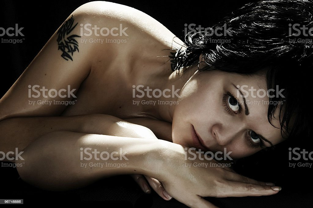 sexual brunette with tattoo royalty-free stock photo