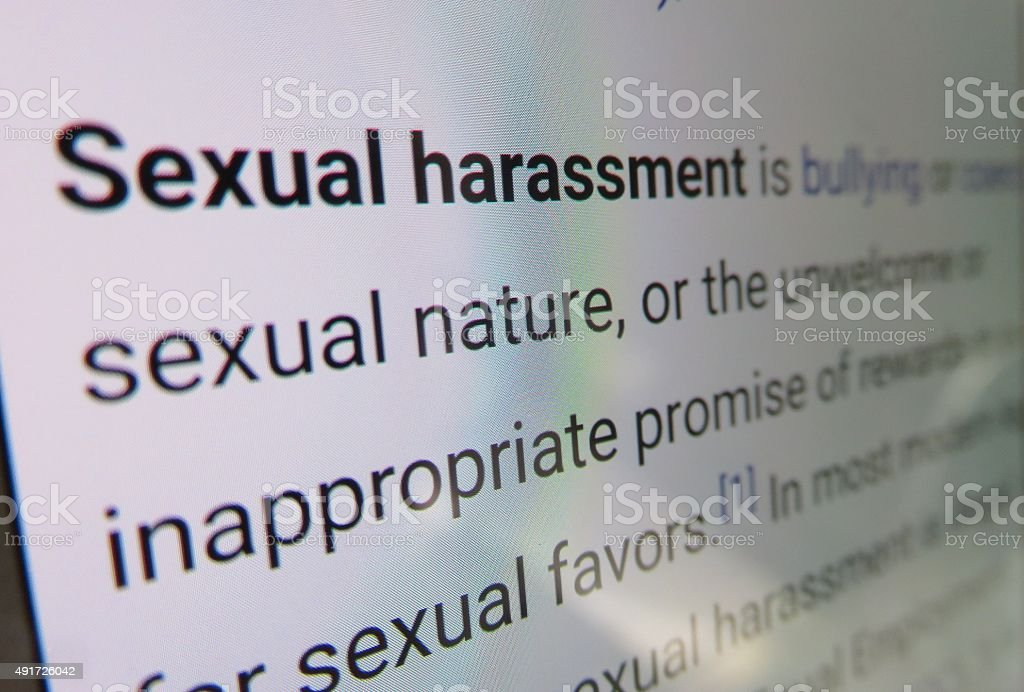 Sexual harassment - dictionary definition stock photo