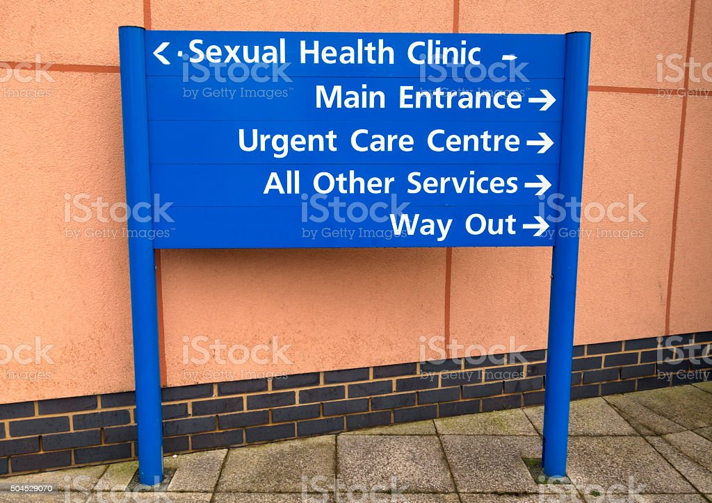 Sexual Health Clinic - sign stock photo