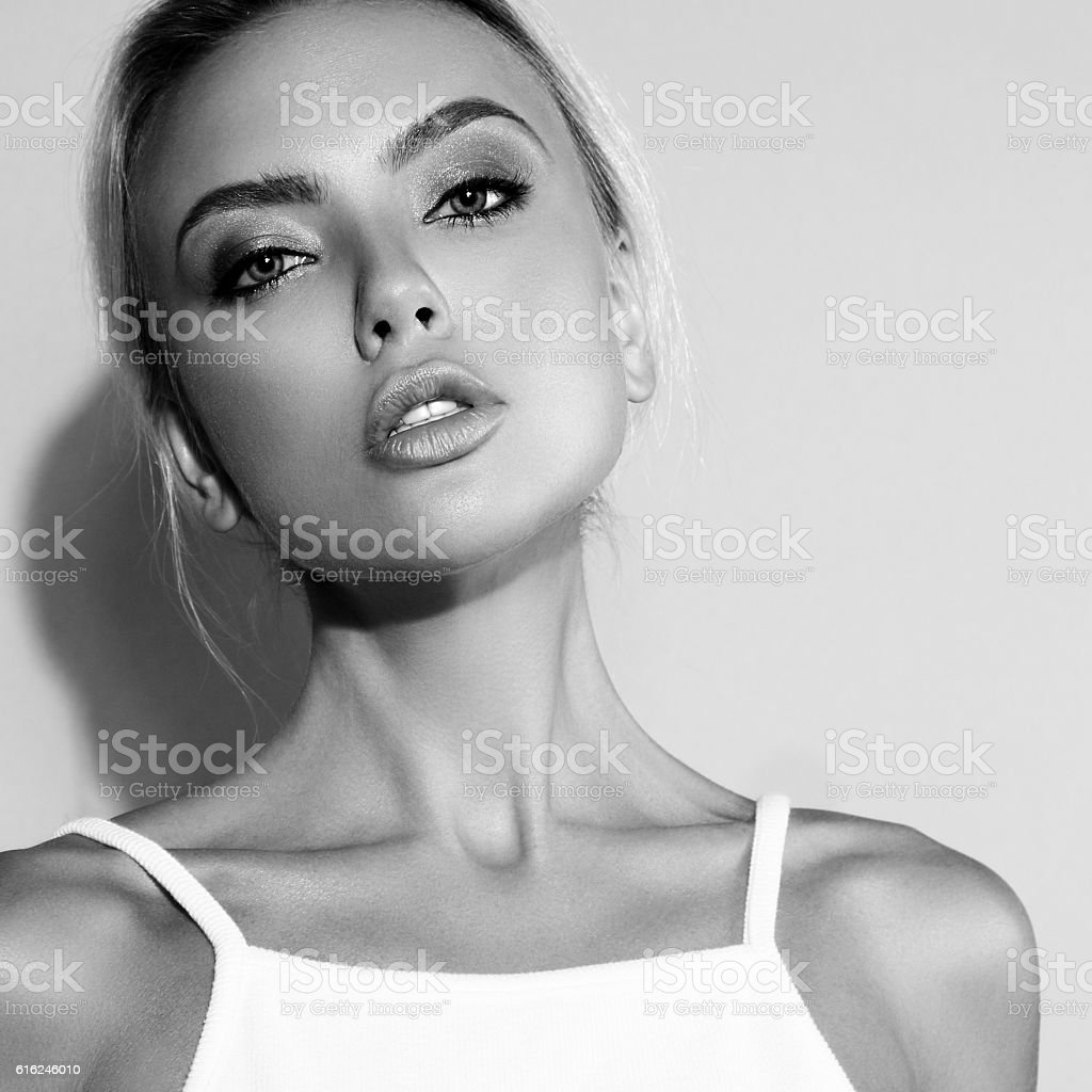 Sexual makeup blond woman with sexy  lips and elegant neck stock photo