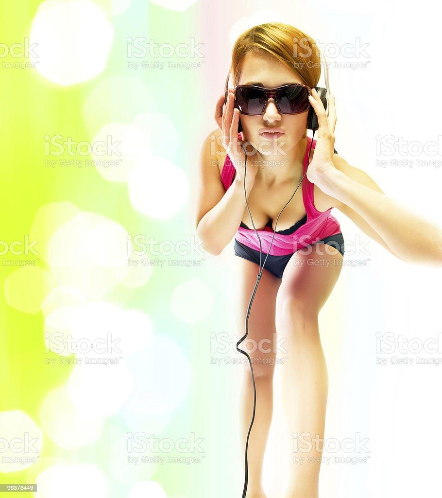 sexual woman in headphones stock photo