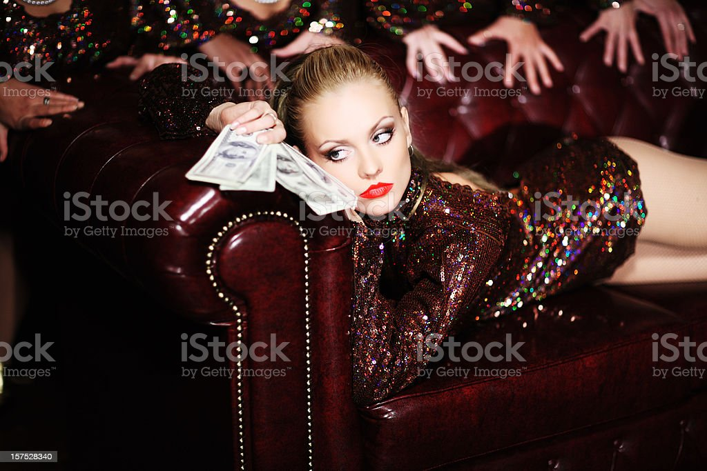 Sexual woman with money. royalty-free stock photo