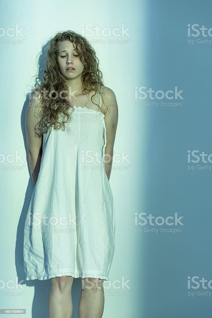 Sexually abused woman stock photo