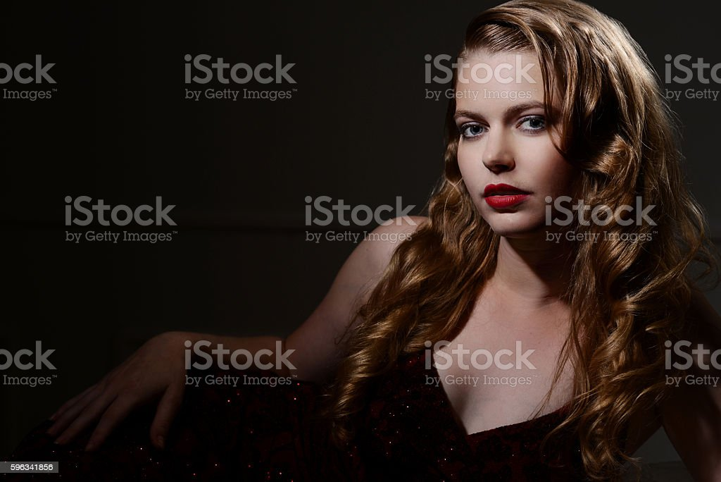 sexy 1940s glamour portrait stock photo
