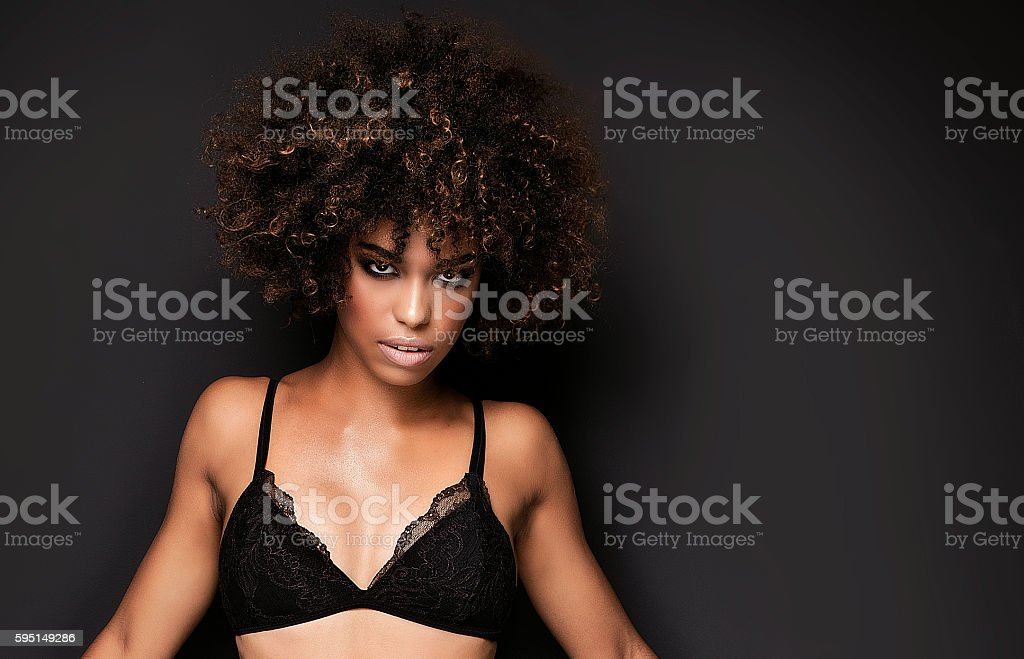 Sexy african american girl in lingerie. stock photo