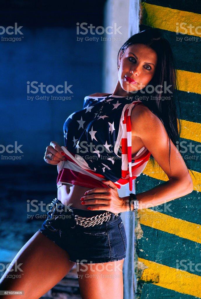 Sexy American woman looking at camera stock photo