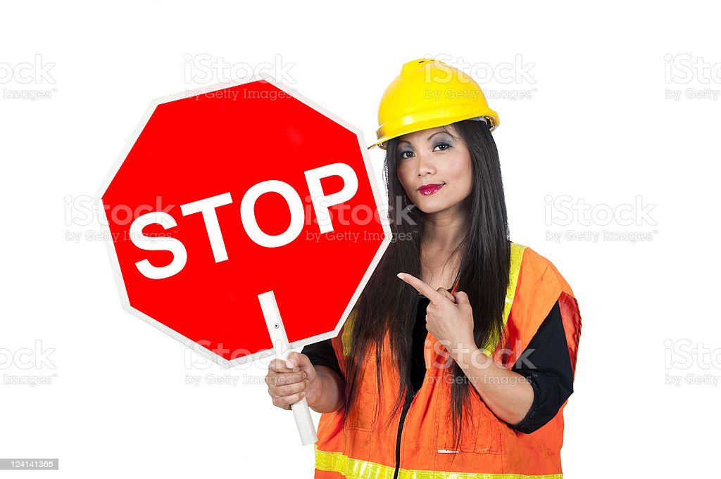 Sexy Asian construction worker stock photo