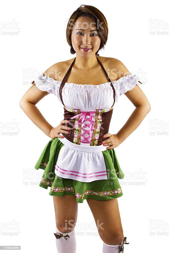 Sexy Asian Female Waitress on Oktoberfest royalty-free stock photo