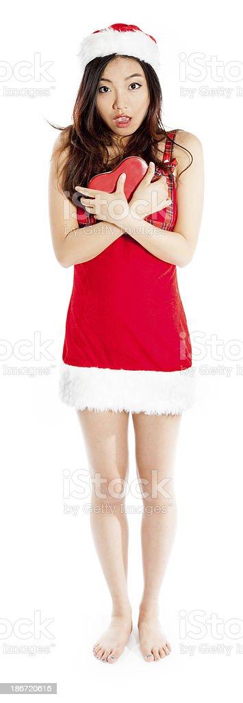 Sexy asian santa claus shy for love royalty-free stock photo