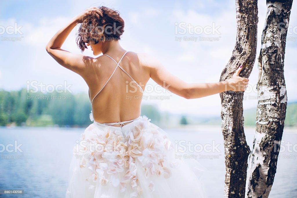 Sexy beautiful bride in her wedding dress stock photo