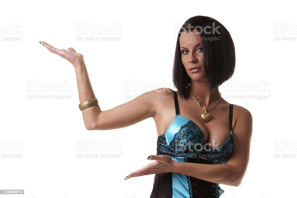 Sexy beautiful lady shows your product royalty-free stock photo