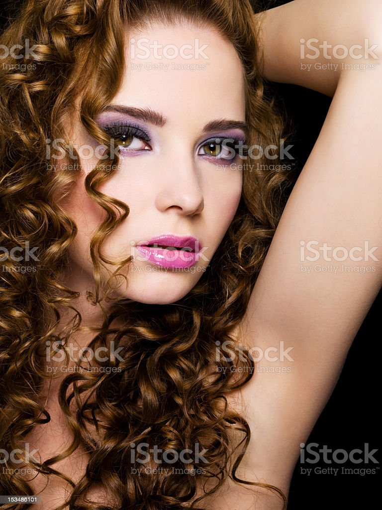 sexy  beautiful  woman with beauty hairs stock photo