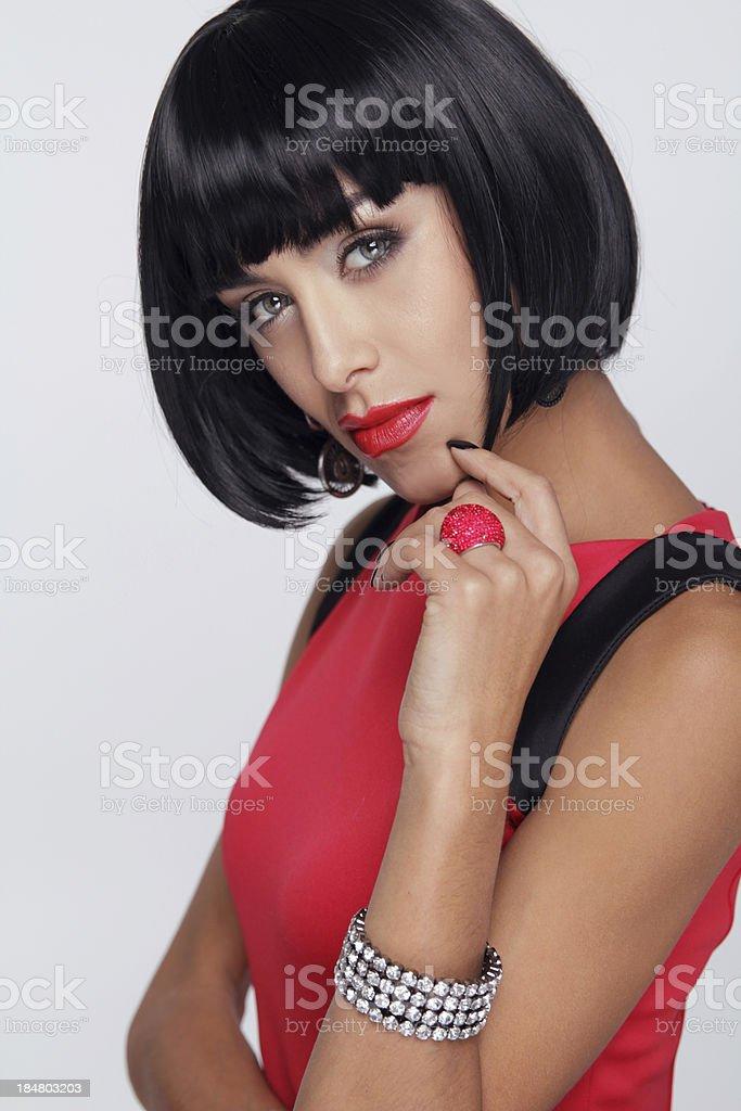Sexy beauty brunette woman. Makeup. Stylish Fringe. Black Short stock photo