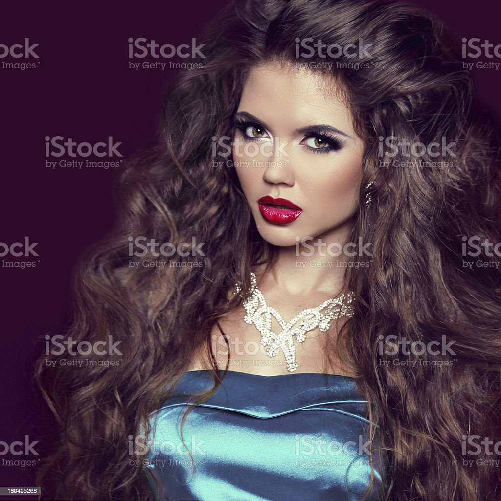 Sexy Beauty Girl with Red Lips. Make up. Luxury Woman royalty-free stock photo
