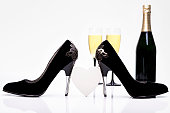 Sexy Black High Heels, Heart, Champagne And Glasses