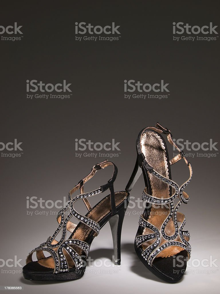 Sexy blingbling coktail women shoes isolated on grey gradiant stock photo