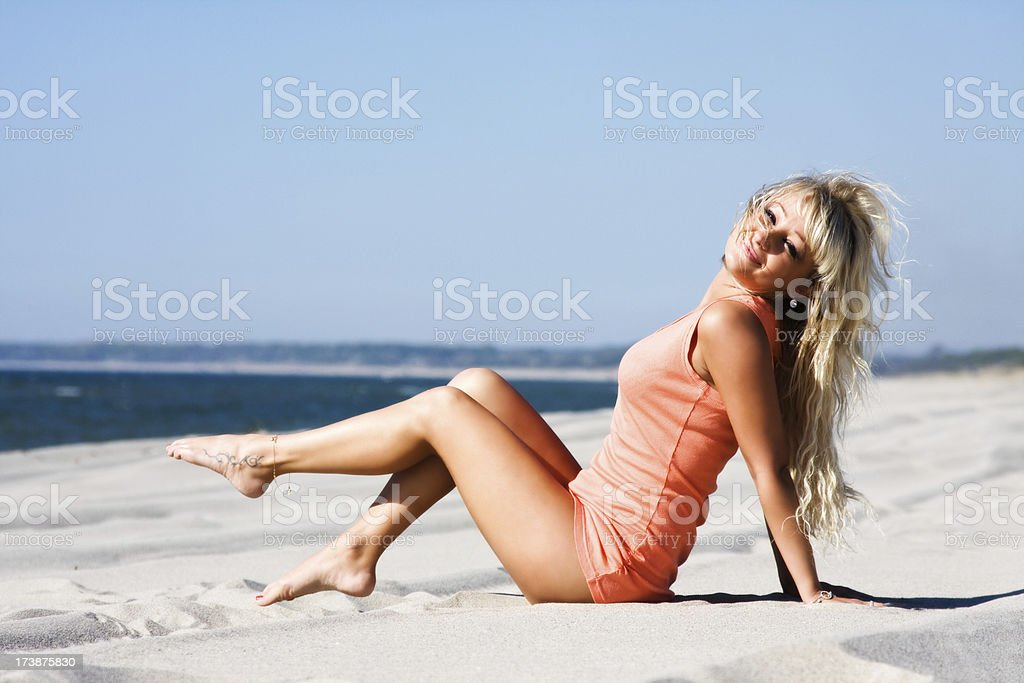Sexy blond at beach royalty-free stock photo