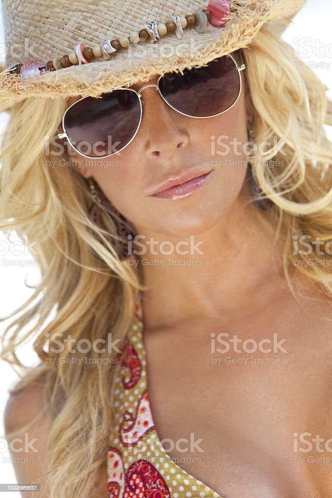 Sexy Blond Girl In Aviator Sunglasses and Straw Cowboy Hat royalty-free stock photo