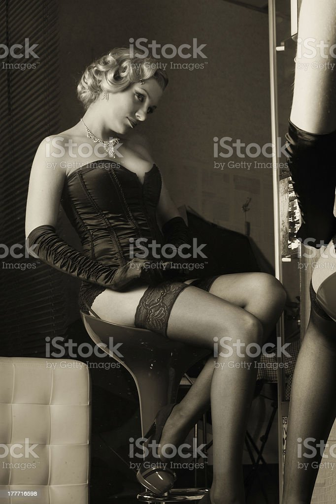 Sexy blond in black lingerie royalty-free stock photo