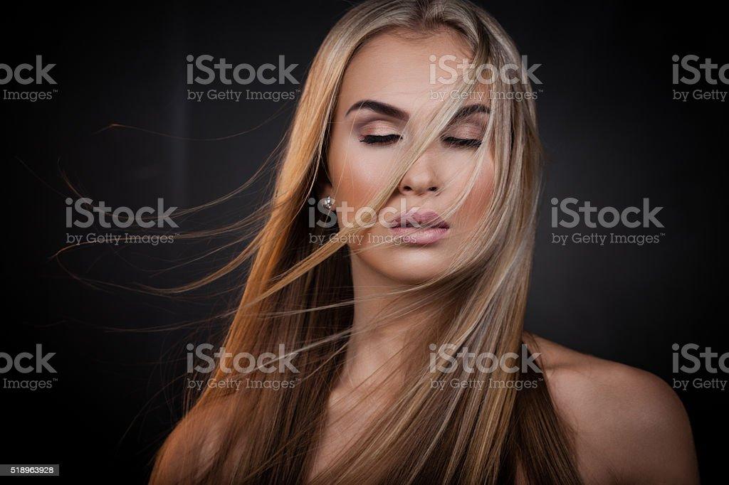 Sexy blond lady stock photo