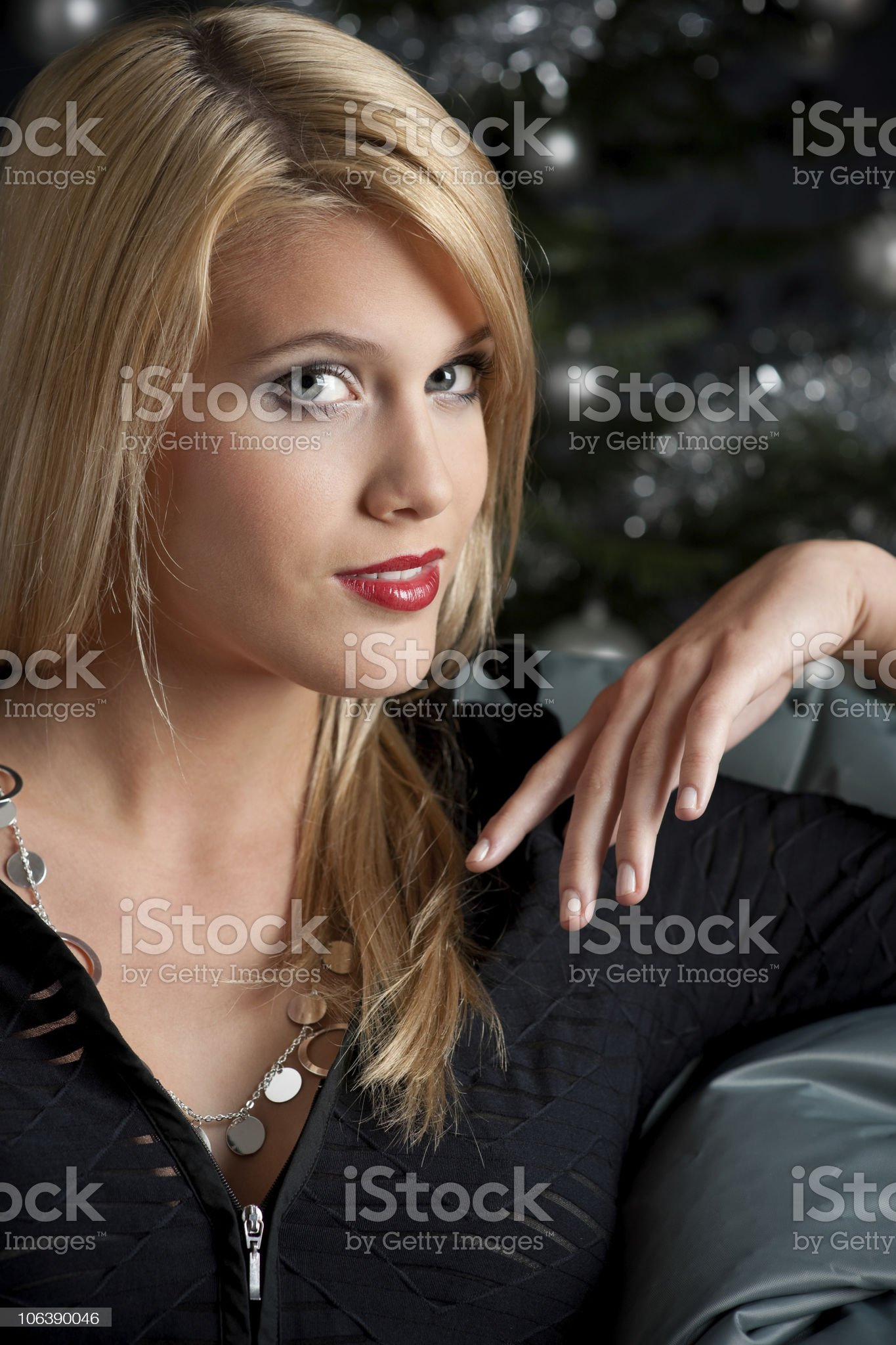 Sexy blond woman on Christmas royalty-free stock photo