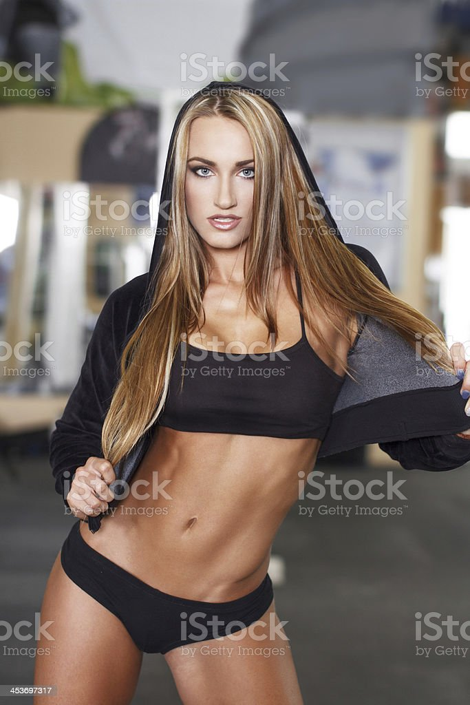 Sexy blonde fitness model royalty-free stock photo