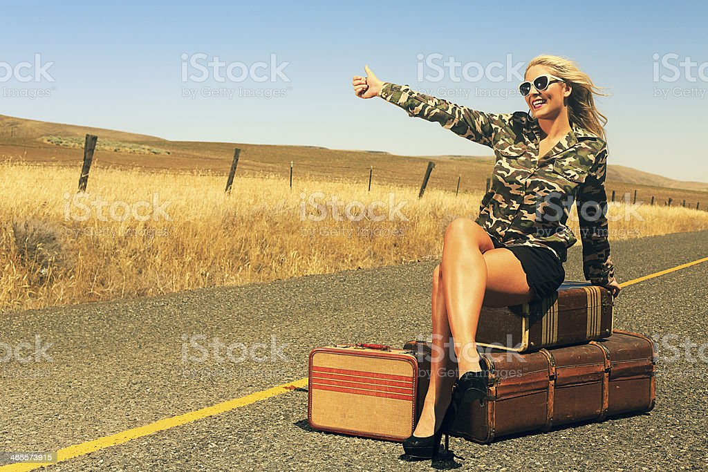 Sexy Blonde Hitch Hiker royalty-free stock photo