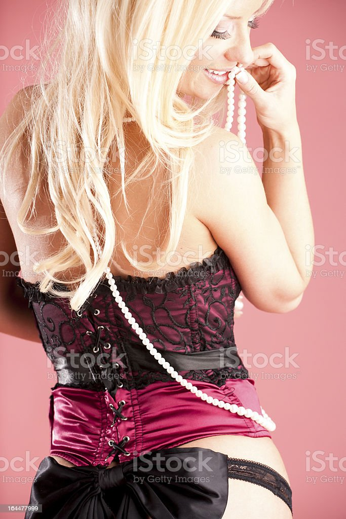 Sexy blonde in corset royalty-free stock photo