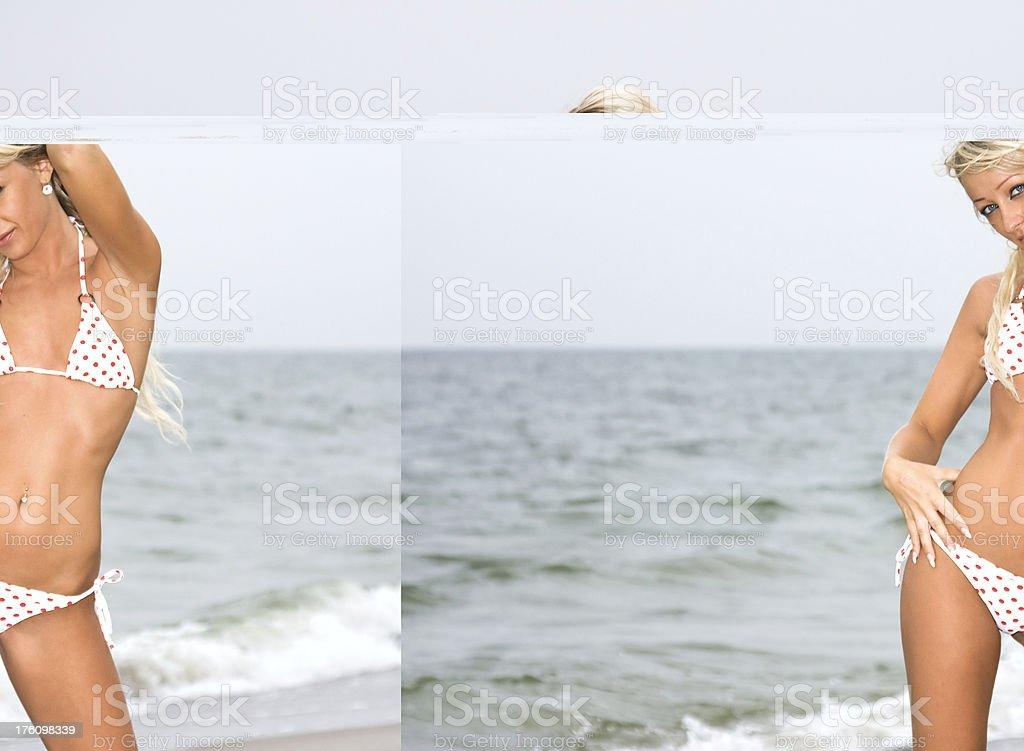 Sexy blonde in white bikini at beach royalty-free stock photo