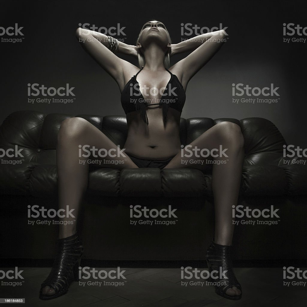 Sexy blonde woman looking up royalty-free stock photo